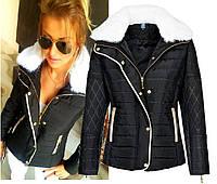 Демисезонная женская куртка черная короткая