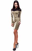 Элегантное платье из эластичного трикотажа , оливковый