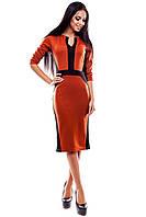 Элегантное платье из эластичного трикотажа , рыжий