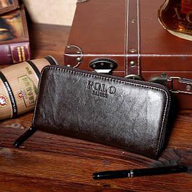 Кожаный мужской кошелек-клатч POLO