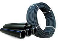 Труба ПНД для водоснабжения 20х2мм черная с синей полосой (бухта 100м)