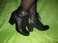 Стильные Ботиночки на каблучке со шнурками натуральная кожа