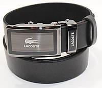 Кожаный ремень автомат мужской Lacoste 8006-306 черный, коричневый, темно-синий