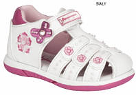 Детские польские босоножки с ортопед стелькой American club белые с закрытым носком р.22-26 для девочек