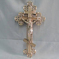 Крест метализированный фигурный пластик 36х19 см