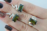 Серебряный набор с золотом - кольцо и серьги оригинальной формы