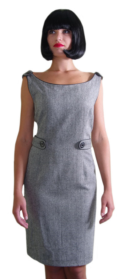 Платье-сарафан светло-серый с клапанами на талии и плечах Арт.914 р.38,42