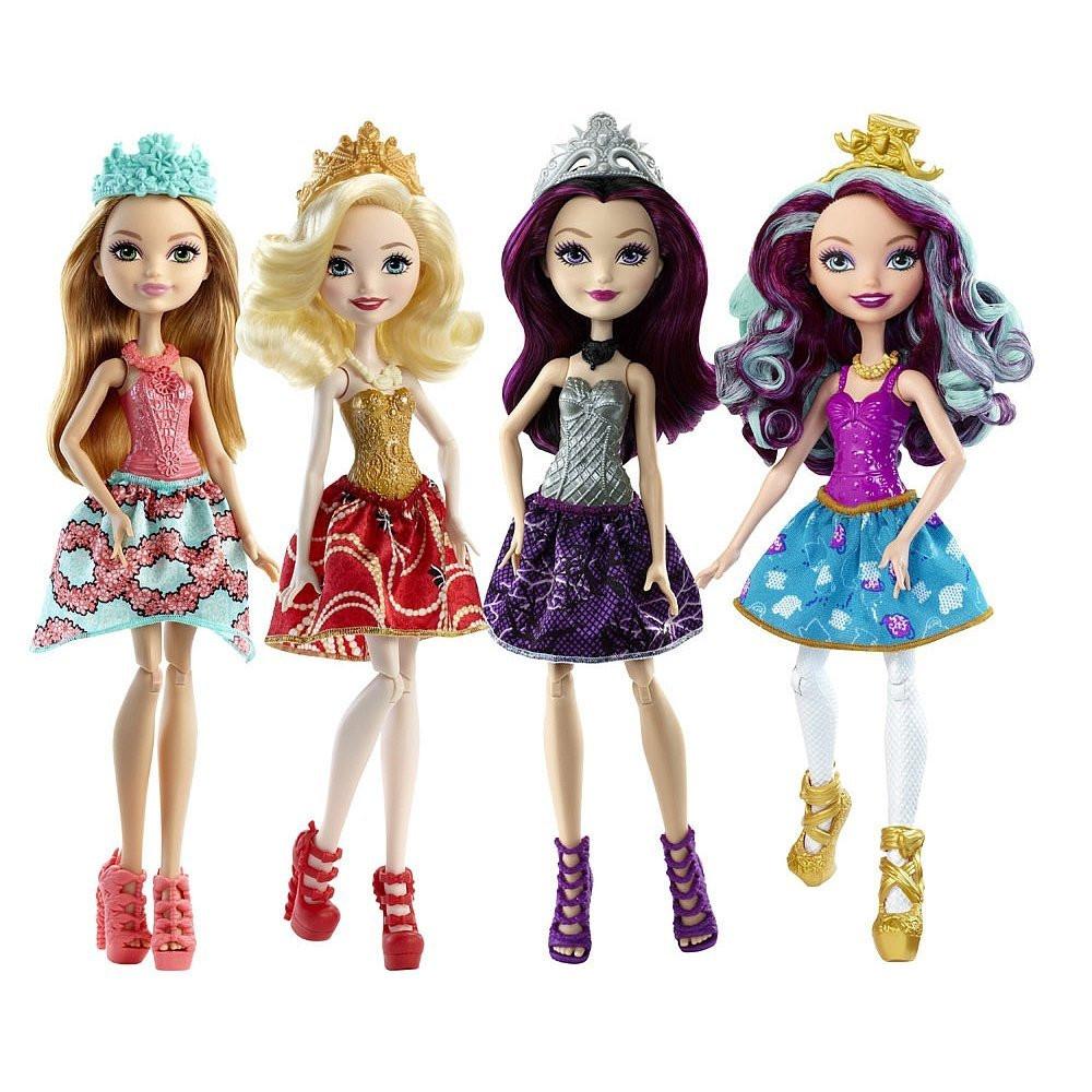 Ever After High Dolls 4 Pack Набор из 4  бюджетных кукл (без шарниров в руках) Рейвен Квин, Эппл Вайт, Меделин Хеттер, Эшлин Элла Raven Queen, Apple