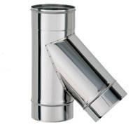 Тройник для дымаря 45° из нержавейки 0,5 мм, диаметр 100