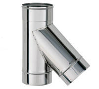 Нержавеющая сталь тройник дымохода (45 градусов), толщина 0.8 мм, D=120