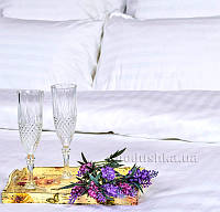 Постельное белье Украина отельное сатин-страйп белое простынь 143х215 см