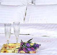Постельное белье Украина отельное сатин-страйп белое пододеяльник 175х215 см