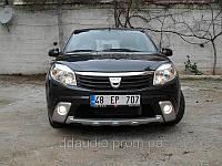 Renault Sandero 2008-2013 Накладки на передний бампер (3шт)
