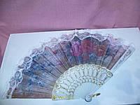 Веер цветной с розовыми цветами 23см