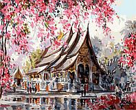 """GX 3259 """"Тайский храм""""  Роспись по номерам на холсте 40х50см без коробки, в пакете"""