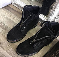 Чёрные женские замшевые ботинки на овчине теплые