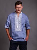 Вышиванка мужская, голубой лен, белая вышивка