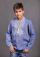 Дитяча вишиванка для хлопчика, льон джинс, довгий рукав, фото 1