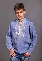 Детская вышиванка для мальчика, лен джинс, длинный рукав, фото 1