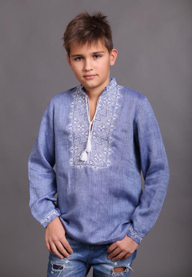 Детская вышиванка для мальчика, лен джинс