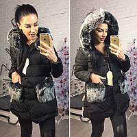 Куртка женская зимняя теплая на холлофайбере с мехом на капюшоне и карманах 3 цвета Gok66