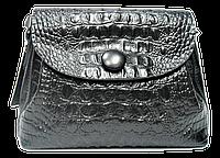 Сумка женская из натуральной кожи на плечо черного цвета под крокодила GGD-826721