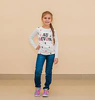 Реглан для девочки (белый, бирюзовый, нежно-розовый)