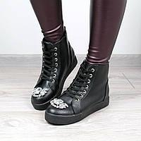 Ботинки женские демисезонные MIuMiu черные, осенняя обувь