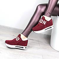 Кроссовки женские Love на липучке бордо , спортивная обувь