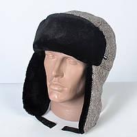 Теплая мужская шапка - ушанка на искусственном меху - мутон (арт. 29-609)