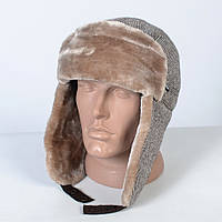 Теплая мужская шапка - ушанка на искусственном меху - мутон (арт. 29-610)