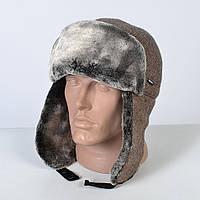 Теплая мужская шапка - ушанка на искусственном меху - мутон (арт. 29-611)