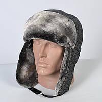 Теплая мужская шапка - ушанка на искусственном меху - мутон (арт. 29-612)