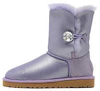 Зимние женские сапоги UGG Bailey Button Purple (короткие угги австралия с кристаллом) сиреневые