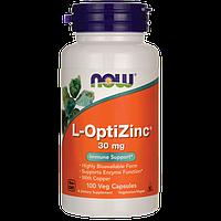 ОптиЦинк, минералы с цинком, L-OptiZinc, Now Foods, 30 мг, 100 капсул
