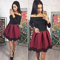 Платье короткое с пышной юбкой из неопрена и кружевом разные цвета SMok648