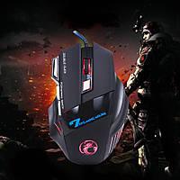 [ Игровая мышка Estone X7 с подсветкой 3200 dpi ] Проводная светодиодная оптическая мышь 7 кнопок