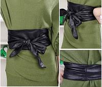 Универсальный женский кожаный пояс для любой одежды. Черный. Широкий и длинный пояс