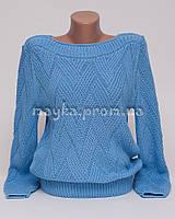 Кофта джемпер женская вязаная ромбики р.46-48 голубой AL30-2