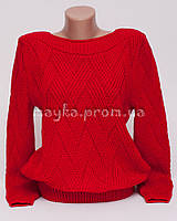 Кофта джемпер женская вязаная ромбики р.46-48 красный AL30-6
