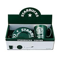 Кружка Starbucks + блюдце + ложка зеленая