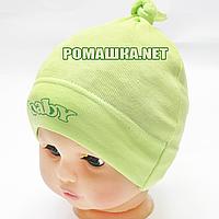 Детская трикотажная шапочка р. 44-46 для новорожденного отлично тянется ТМ Sweet Mario 3313 Зеленый