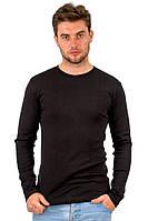 Теплая футболка с длинным рукавом мужская черная трикотажная хб (Украина)