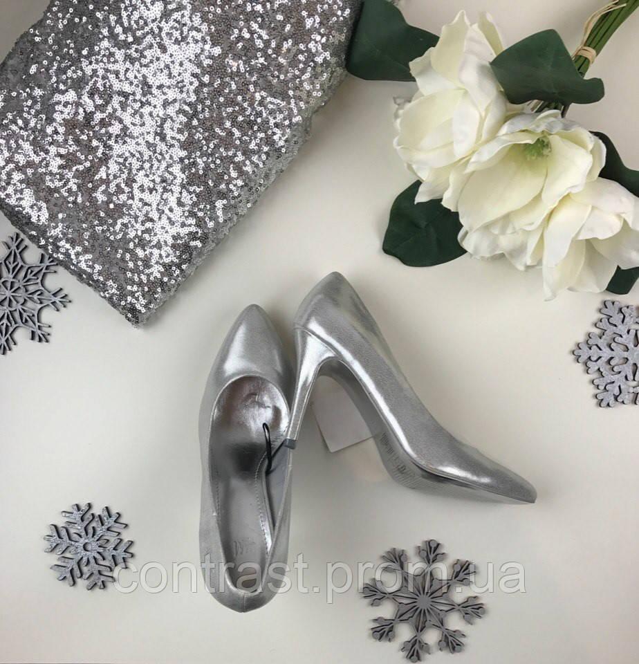 Серебристые туфли-лодочки на элегантном каблуке-шпильки    SH39004