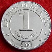 Монета Никарагуа. 1 кордова 2007 год.