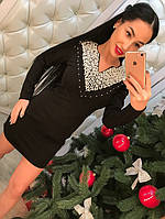 Женское красивое платье-туника с жемчугом