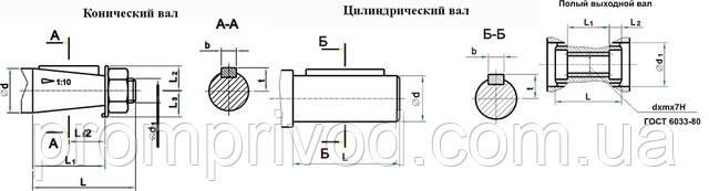 Размеры валов редуктора Ч-125