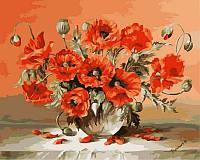 Раскраски для взрослых 40×50 см. Маки в вазе Художник Жюльен Стапперс