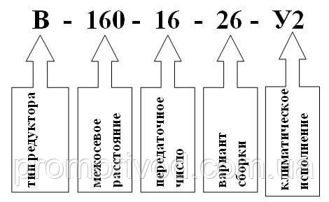 Условное обозначение редуктора В-160