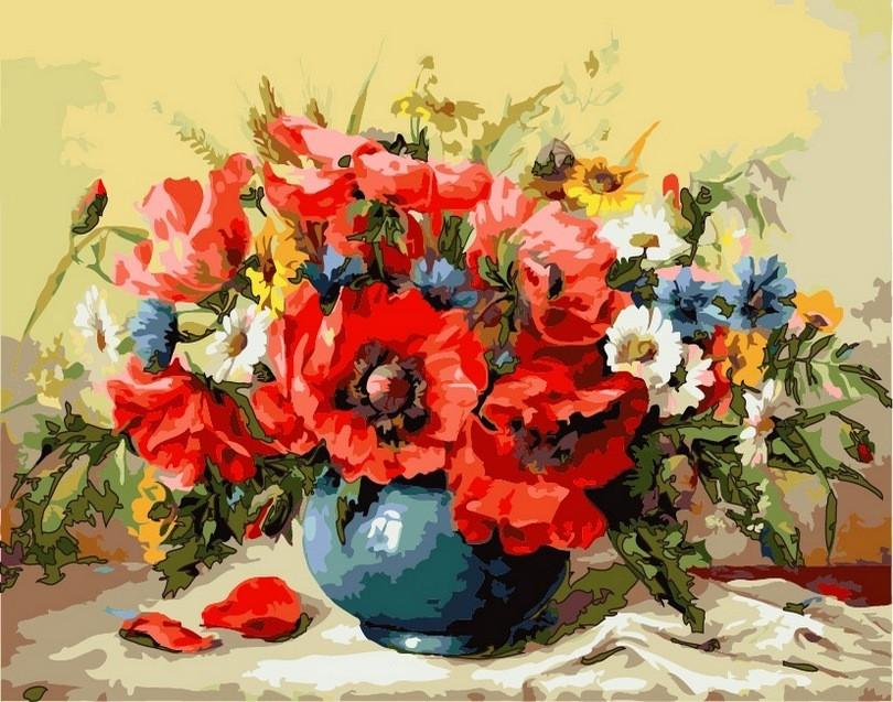 Раскраска по цифрам 40×50 см. Ваза с маками Художник Майкл Гаусс